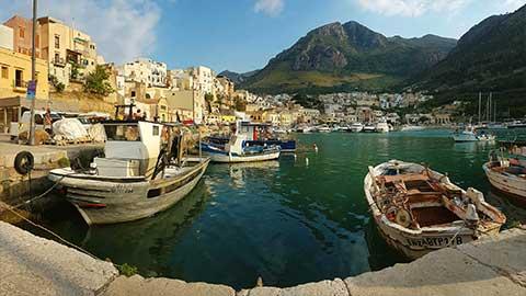 View from the harbor in Castellammare del Golfo in Sicily.